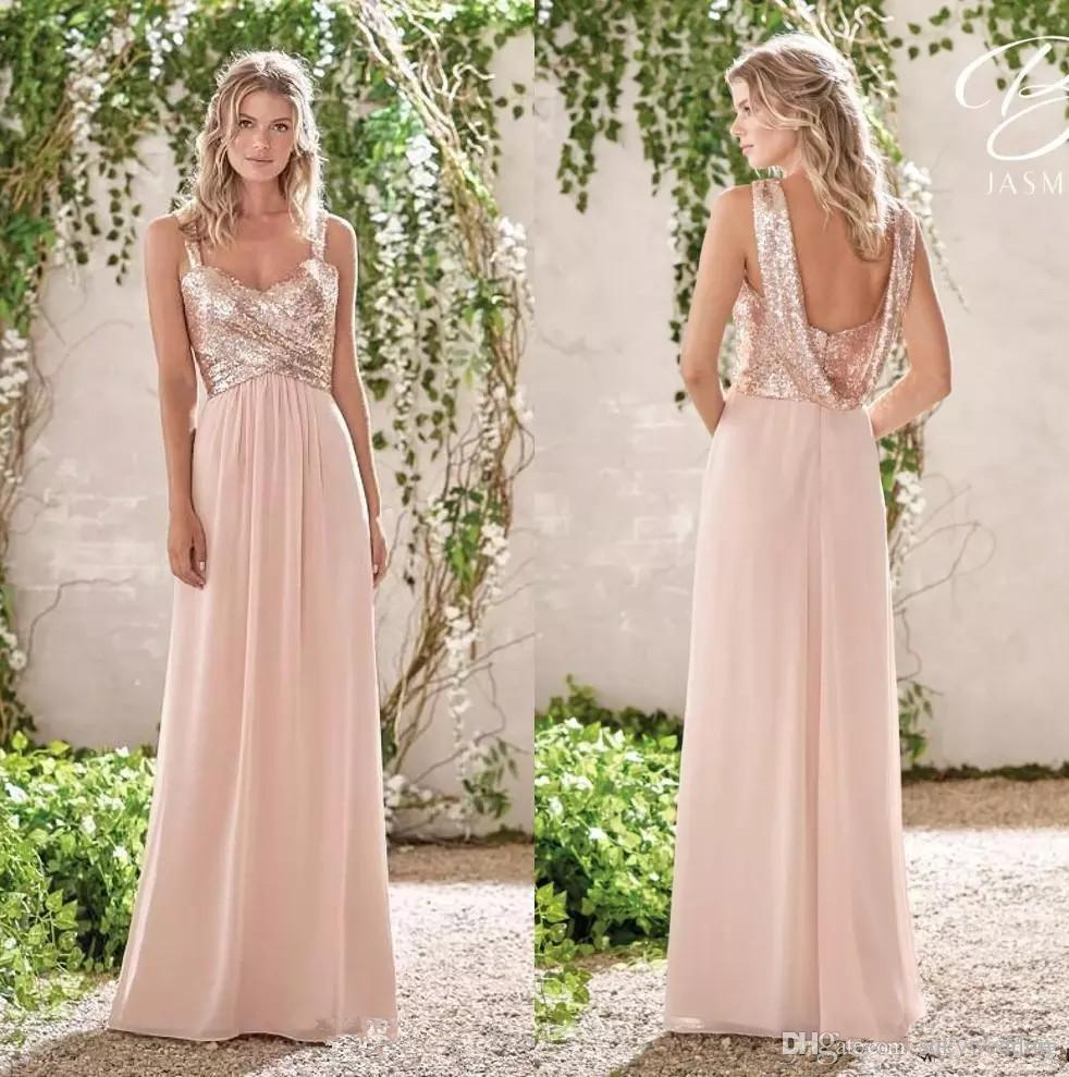 b64dcd73cf98 Sparkly Sequin Long Bridesmaid Dresses Spaghetti Straps Ruched Chiffon Wedding  Guest Dresses Long Floor Length Maid Of Honor Dresses Brown Bridesmaid Dress  ...