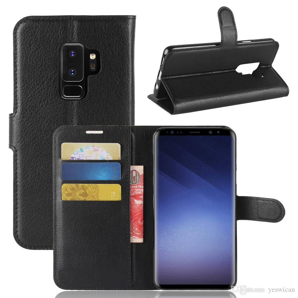 new style 1e840 74ef3 For Samsung Galaxy S9 Plus Litchi Leather Flip Case TPU Back Cover Samsung  S9 Wallet Cases With Stand Holder Kickstand Card Slots Pocket