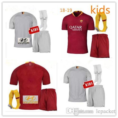 18 19 ROME Home Kids Kit Soccer Jerseys TOTTI 10 ROMA Away DZEKO ... f650d7edf