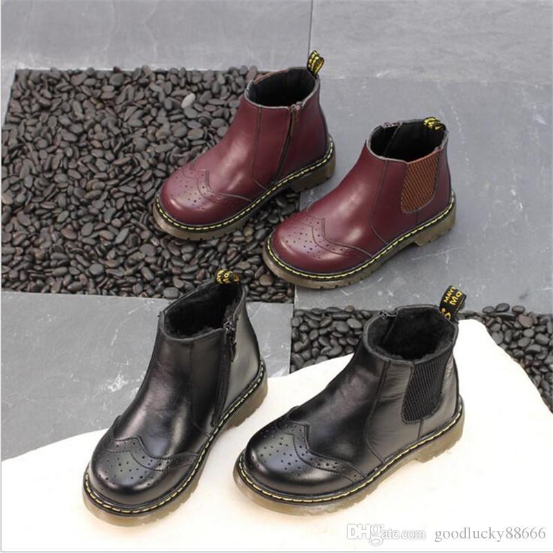 9644fb647a2c5 Acheter Hiver En Cuir Véritable Martin Bottes Garçons Filles Bébé Marque De  Neige Bottes En Cuir De Vachette Chaussures En Cuir Enfants Plus Velours ...