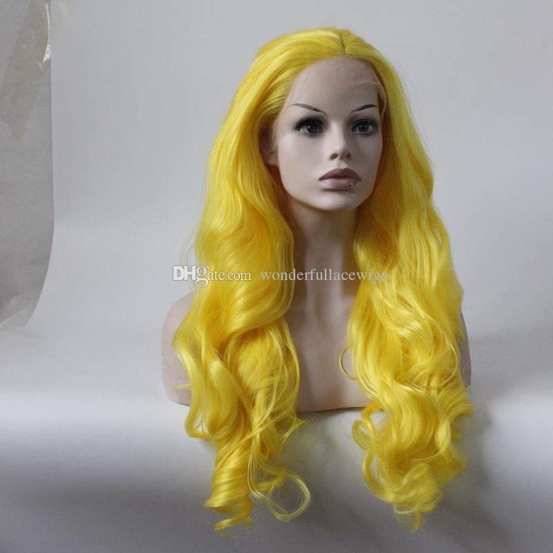 Желтый Цвет Термостойкие Волосы 150% Denstiy Косплей Perruque Masquera Синтетические Парики Фронта Шнурка для Женщин Свадьба