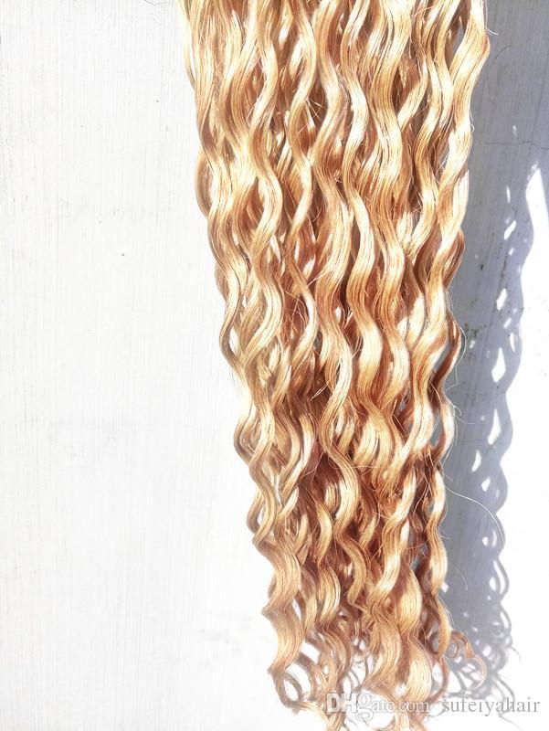 Brazilian Human Virgin Deep Curly Hair Extensions Remy Dark Blonde 27# Color Hair Weft 2-3Bundles For Full Head