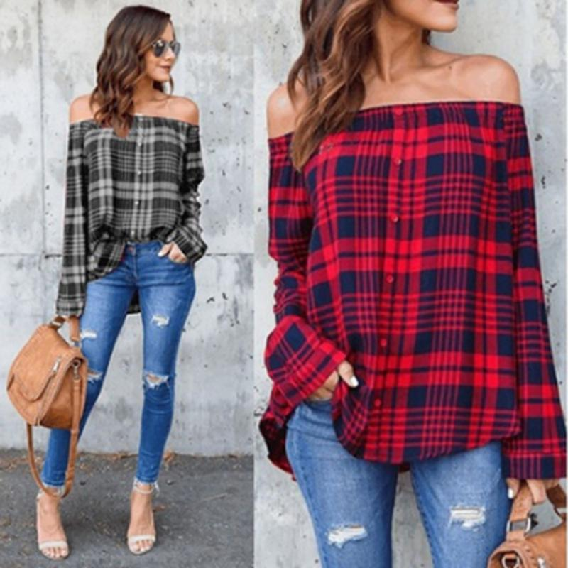 e51f2dc44ced3 2019 2018 New Sexy Top Checkered Shirts Off Shoulder Women Red Plaid  Chemise Femme Long Sleeve Ladies Tops Casual Shirt 704879 From Vanilla10