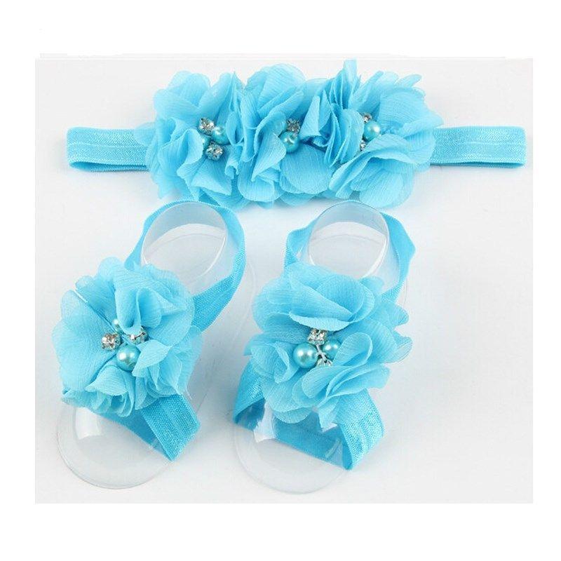 bunte Fußblume barfüßigsandelholze + Stirnband-Set für Mädchen Babysäuglingskleinkind Fußblume Haarband Satz-Babys Blumenstirnbänder