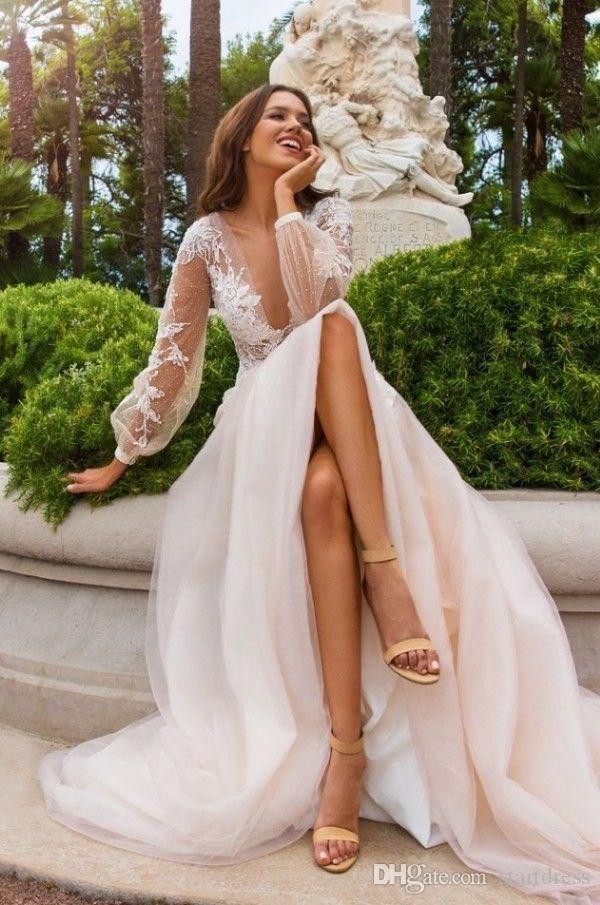 Cheap Bohemian Country Garden Wedding Dresses Plugging Top Illusion Floral Flower Beach Bridal Gown puff Long Sleeve Organza robes de mariée