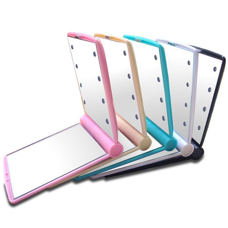 Luce specchio di trucco dello specchio del LED desktop portatile compatto 8 LED si illumina illuminato Viaggi compone lo specchio libero del DHL 77