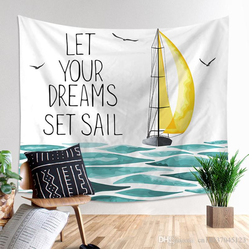 Cartoon Seagulls And Sea Print Tapestry Hand Washable Polyester ...