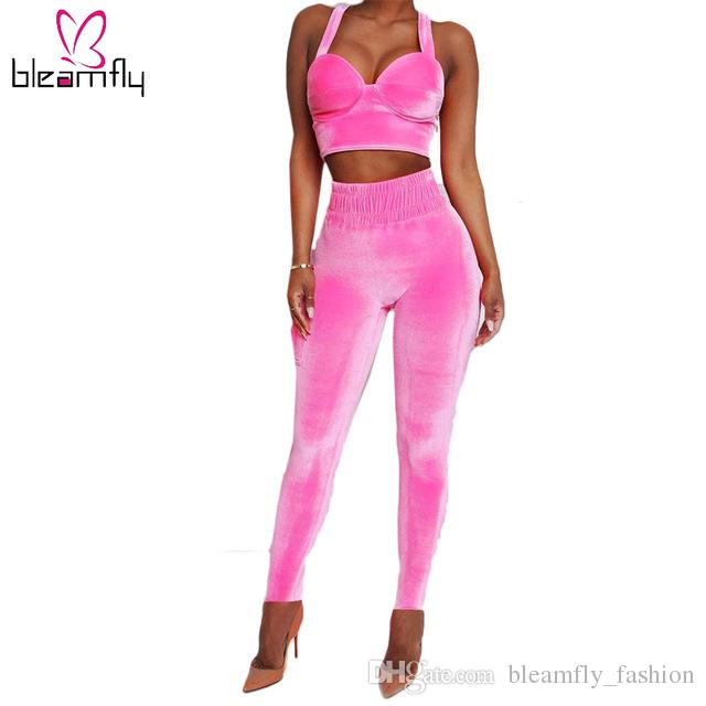 Woman Two Piece Outfit Set Womens Velvet Sexy Autumn Sets 2018 Pink Crop  Strap Tops Elastic Waist Pants Club Outfits UK 2019 From Bleamfly fashion 905696d1a4
