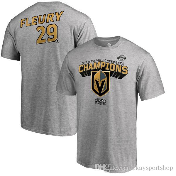 1d1b470b8 Vegas Golden Knights 2018 Western Conference Champions Marc Andre Fleury  William Karlsson James Neal Deryk Engelland Name   Number T Shirt Online Buy  T ...