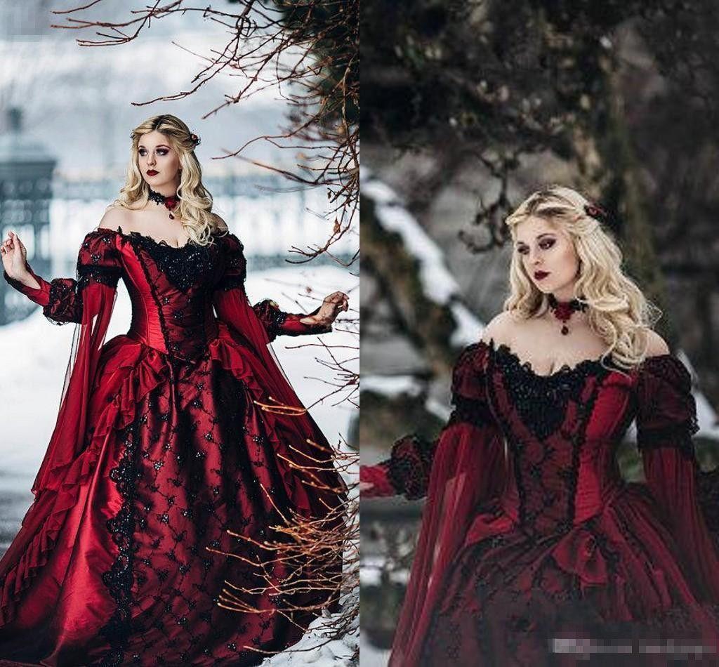 05b9909d755 Acheter Belle Au Bois Dormant Gothique Princesse Médiévale Rouge Et Noir  Robe De Mariée Robe De Mariée Manches Longues En Dentelle Appliques  Mascarade ...