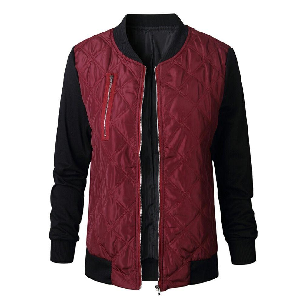 9a0c1e368 Winter Parkas Wine Red bomber Jacket Women Coat Cool Basic Down Jacket  Padded Zipper Chaquetas Biker Outwear