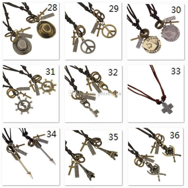 Adjustable Retro Genuine Leather Necklaces Vintage Handmade Cowhide Anchor Skull Charm Mens Pendant Necklaces Punk Fashion Jewelry