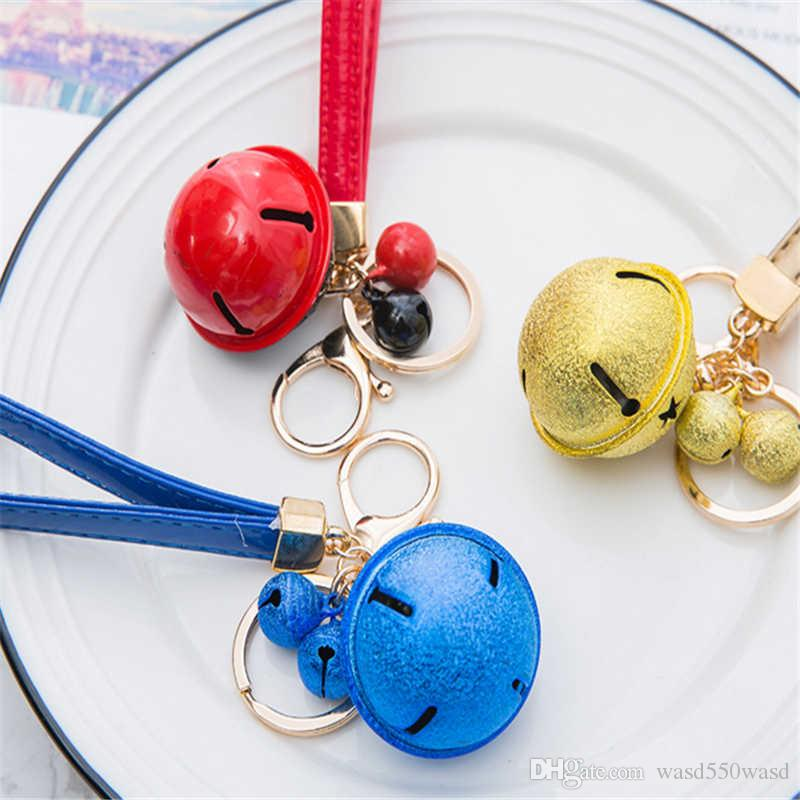 Cartoon cute metal candy color bells key ring pendant creative couple car bag pendant accessories Keychains