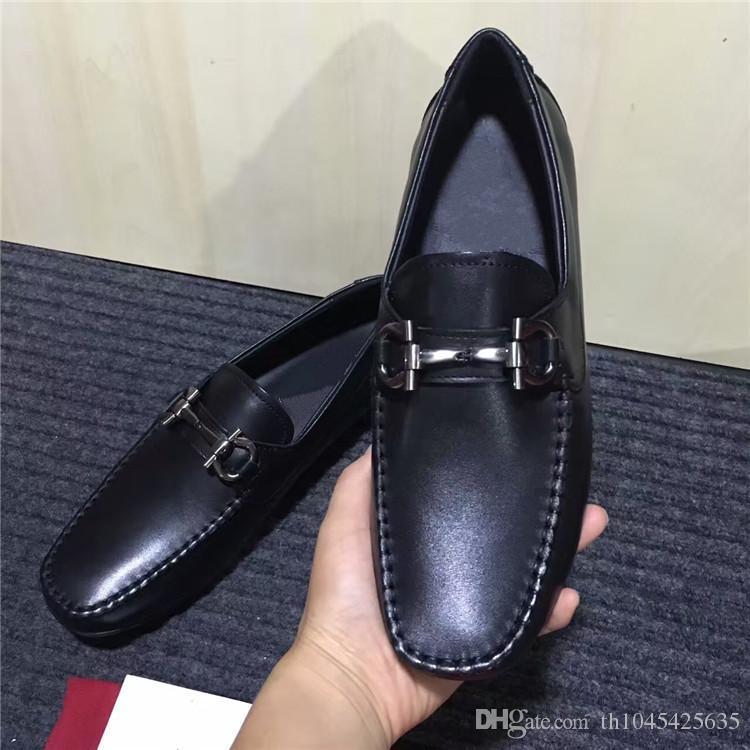 Italy Leather Man Dress Office Shoes 2018 Primavera Autunno Maschio Martin Scarpe Slip On in vera pelle Wedding Party Prom moda scarpe Mujers