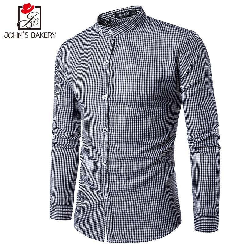 ad45d6a76c4 Brand 2017 Dress Shirts Mens Simple Plaid Shirt Cotton Slim Fit ...