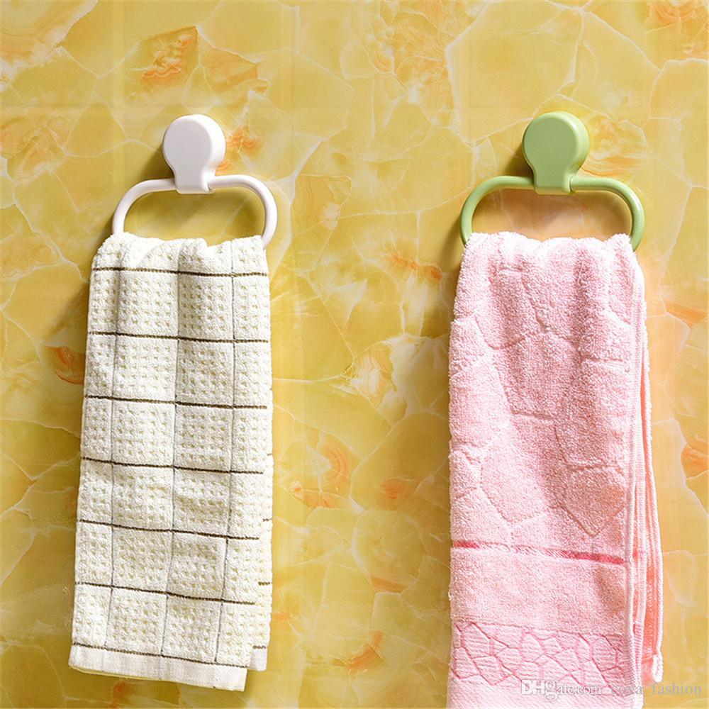 Banyo Havlu Halka 360 Salıncak Plastik Mutfak Bez Havlu Tutucu Duvara Montaj Havlu Raf Üzerinde Hiçbir Matkap beyaz