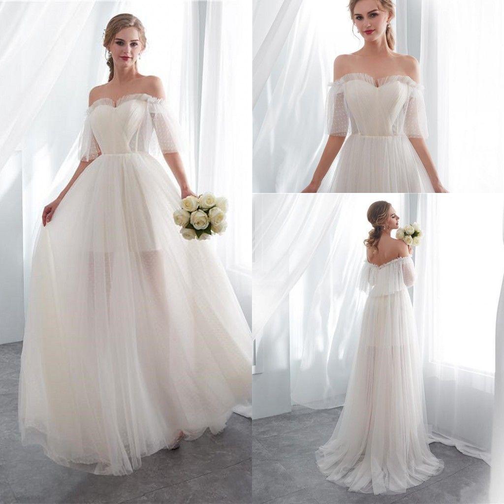 92dab57e36 Discount 2018 Summer Elegant White Off Shoulder Beach Wedding Dresses V  Neck Long Boho Wedding Dress Bridal Gowns Cheap Custom Made Halter A Line  Wedding ...
