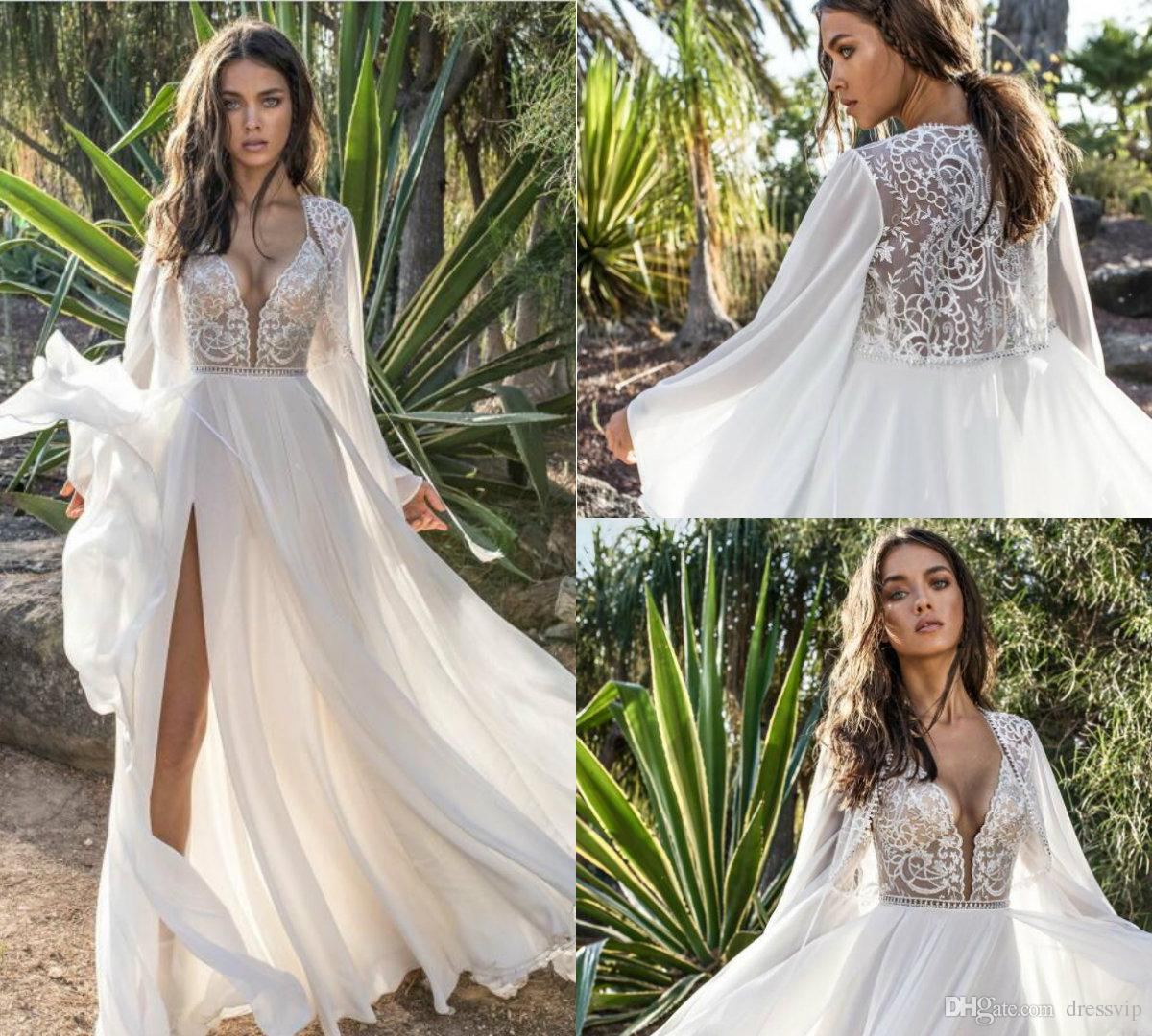 Discount 2018 Asaf Dadush Boho Wedding Dresses Spaghetti Lace Applique Sweep  Train Chiffon Sexy Beach Wedding Gowns Side Split Bohemian Bridal Dress  Wedding ... 3f820e2cf0db
