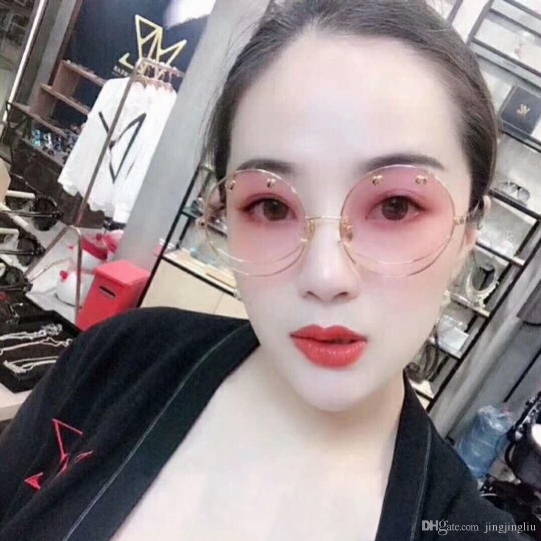 714f2d005e Sunglasses Korean Version Harajuku Wind Smiley Face Ocean Piece Round Metal  Love Concave Modeling Sunglasses Retro Personalized Glasse Heart Shaped ...