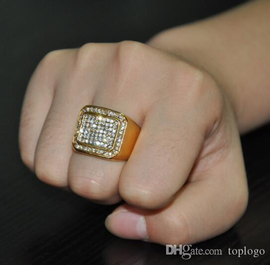 Micro Pave Rhinestone Iced Out Bling Square Ring IP Gold Filled Titanium  Stainless Steel Rings For Men Jewelry Simple Engagement Rings Engagement  Ring ... e38d3c60a235