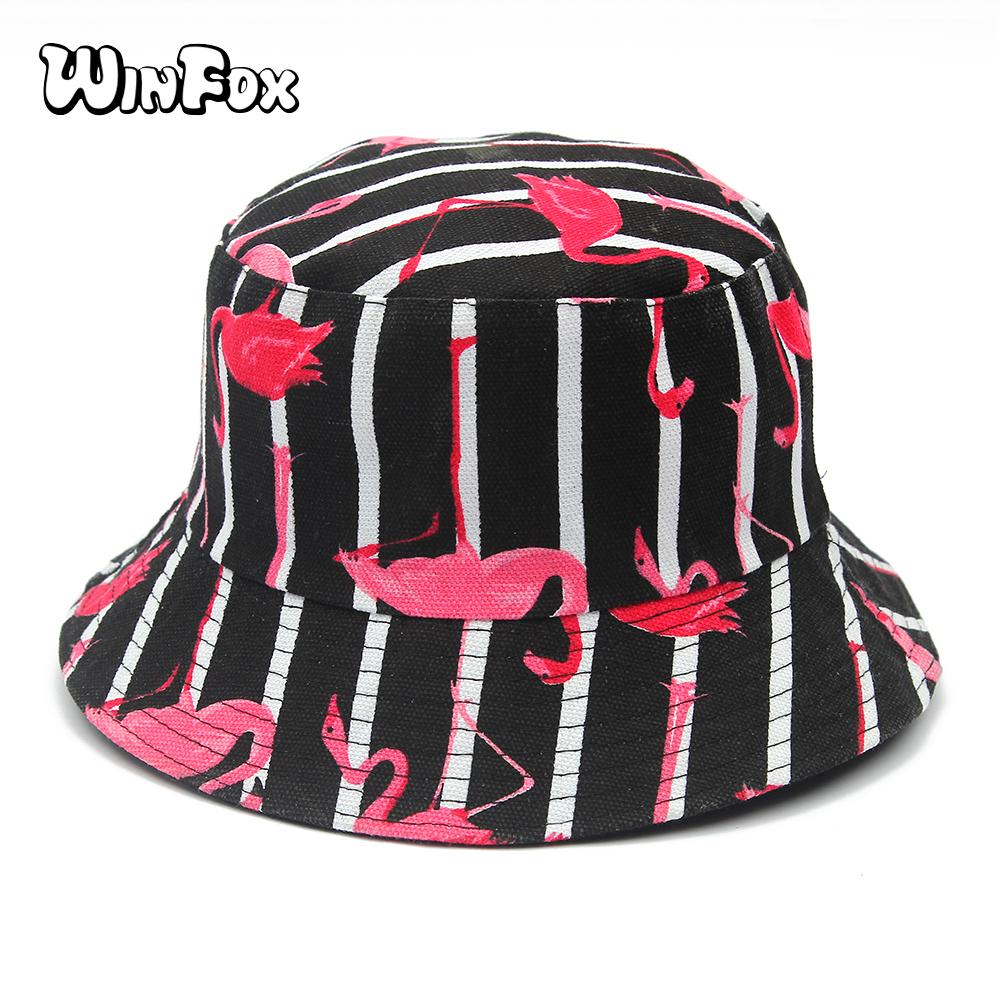 774ea6a4f4e Winfox New Fashion Summer Reversible Black Navy Striped Flamingo Print Boonie  Bucket Hats Fisherman Gorro Pescador Womens Ladies Tilley Hats Mens Hats  From ...