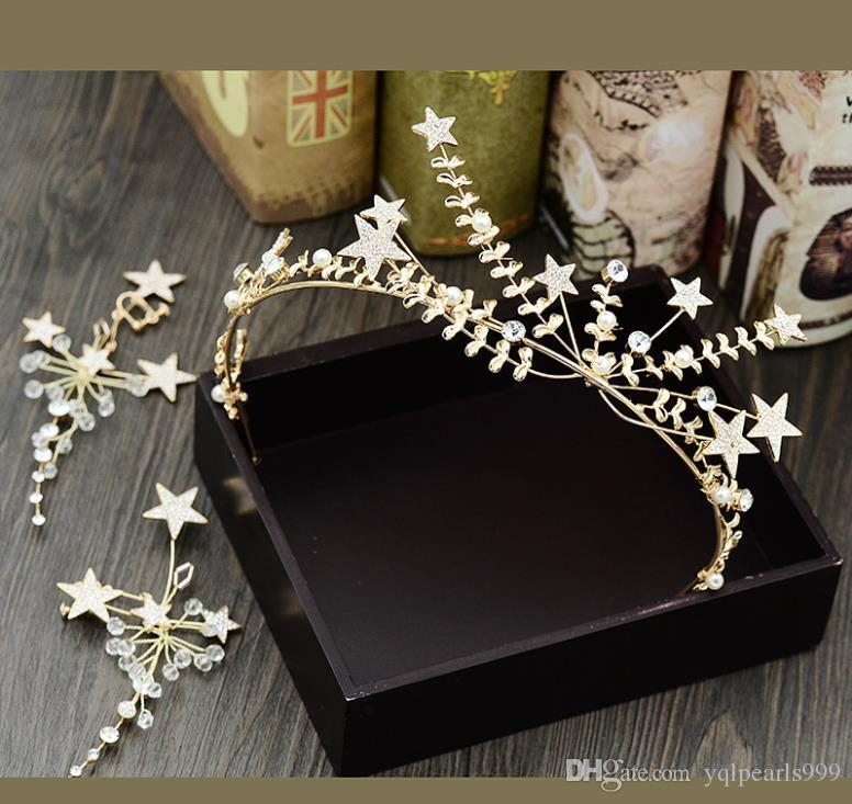 Bridal handmade headwear wedding accessories accessories female hair hoop Crown Star Golden diamond hair belt Earrings