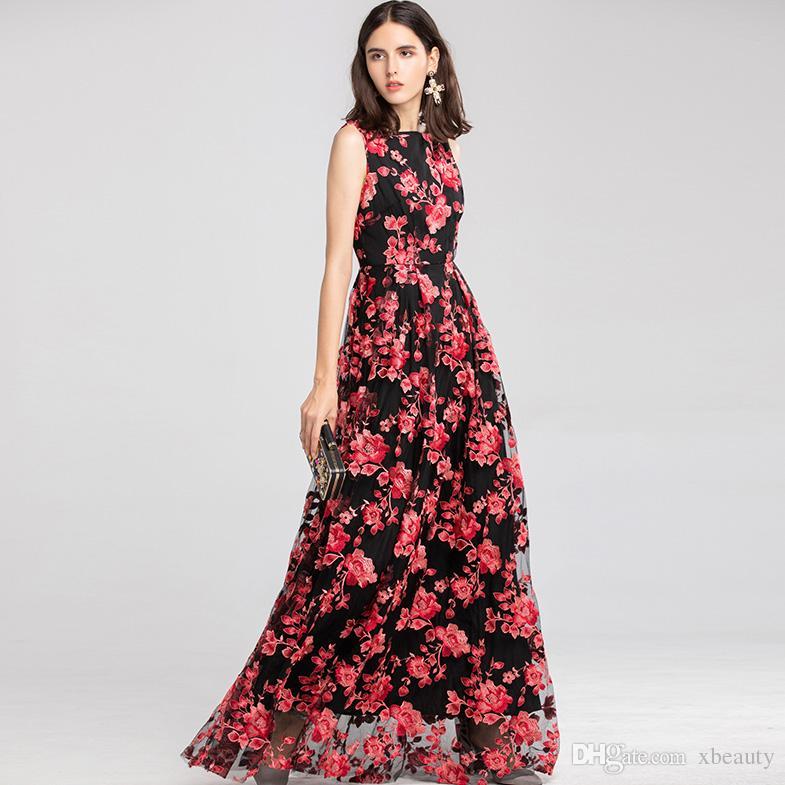 62262b272 Compre 2019 Vestidos De Pasarela Para Mujeres O Cuello Sin Mangas Bordado  Floral Fiesta De Graduación Vestidos Elegantes De Diseño De Moda Largos A   95.24 ...