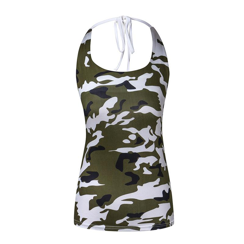 d05814e3875 2019 Women Plus Size Tank Tops Sexy Backless Halter Tops Sleeveless Women Camouflage  Print Casual Tank From Candycloth