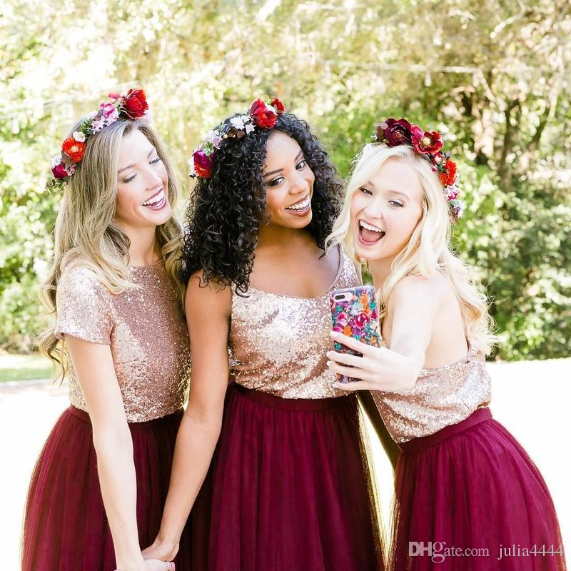 2019 Burgundy Bridesmaid Dresses Rose Gold Sequins Mix and Match Wedding Party Guest Gowns Junior Maid of Honor Dress Cheap Full Length
