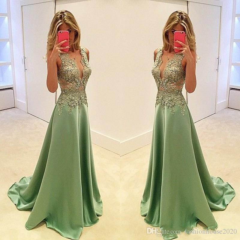 2018 Sexy Prom Dresses Plunging V Neck Olive Green Satin Lace Appliques Beaded Illusion Long Evening Gowns Wear Plus Size Formal Party Dress