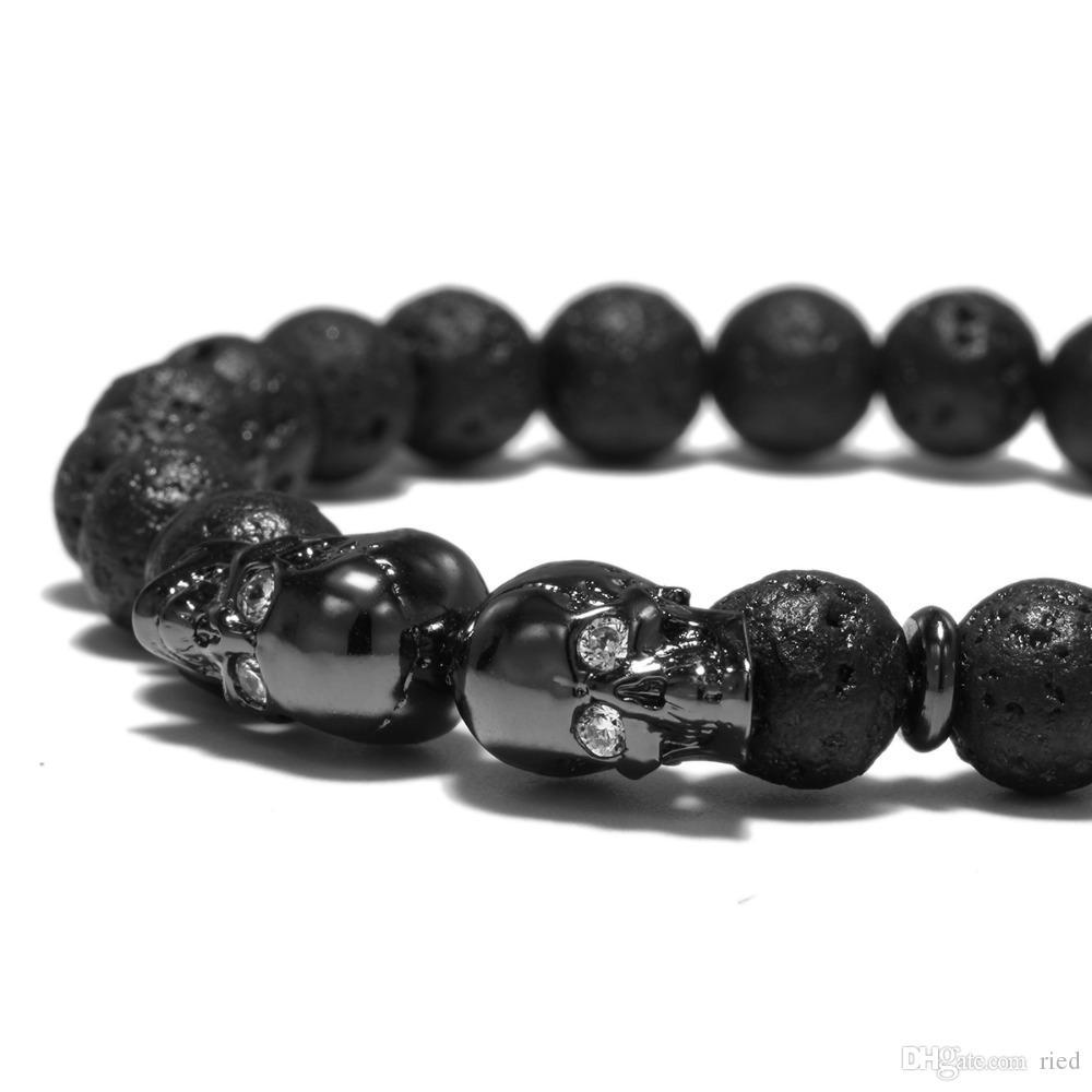 Punk Doble Cráneo Pulsera de piedra volcánica Antique Skeleton Black Beads Braclet Para Hombres Biker Brazalete Joyas Pulseira Caveira Bijoux