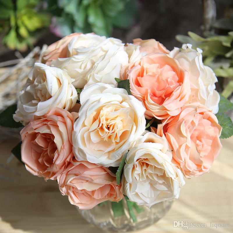 Großhandel Künstliche Rose Blumen Hochzeit Bouquet Weiß Rosa Thai ...