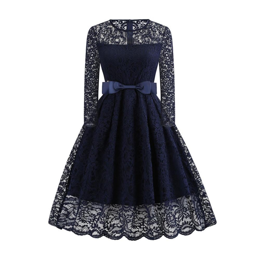 15533eede1 Vintage Sexy Lace Dress Women Autumn Hollow Bowknot Belt Slim Pleated  Office Ladies Elegant Prom Evening Blue Swing Midi Dresses Formal Gown Prom  Dress ...