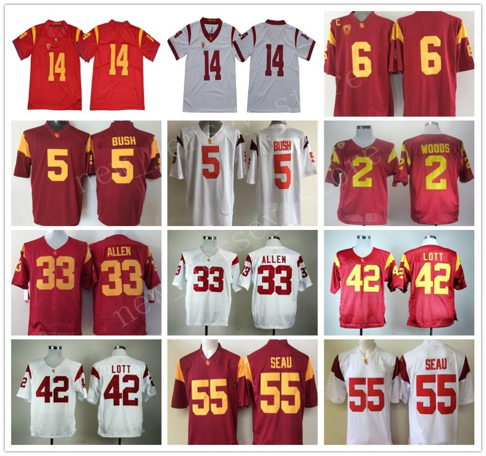 35b35f0f164 NCAA Football 33 Marcus Allen Jersey USC Trojans College Red White ...
