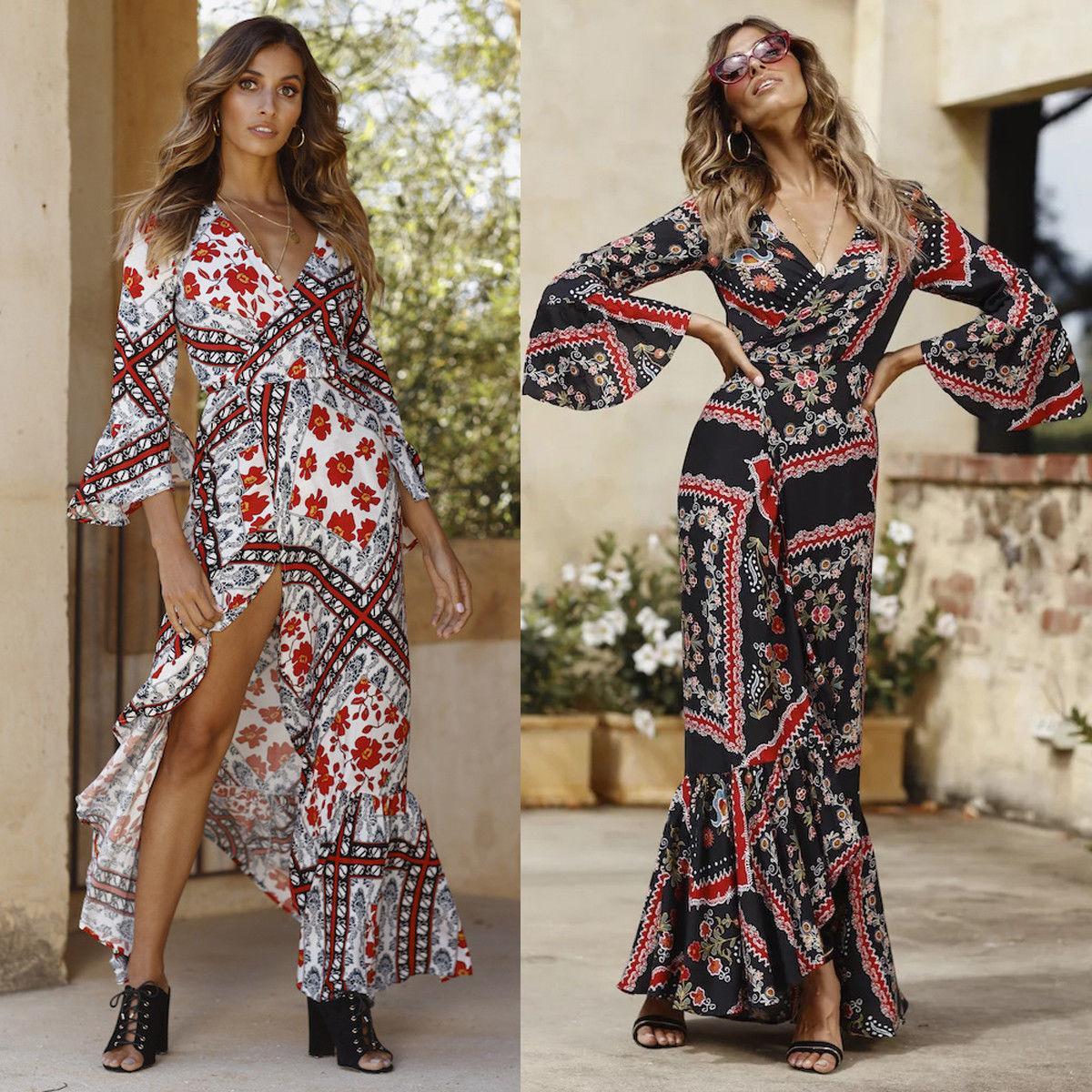 dea2f68d0d Women Summer Boho Chiffon Dress Party Evening Beach Dresses Long Maxi Dress  Print Sundress V Neck 2018 Celebrity Dresses Spring Dresses From Qinfeng06,  ...