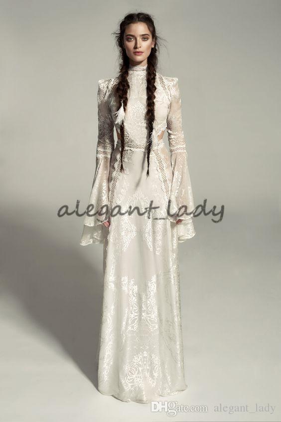 Meital Zano Grande Victoria Vestido de Casamento Medieval com Mangas de Sino Vintage Crochet Lace Alta Pescoço Gótico Vestidos de Casamento Da Rainha
