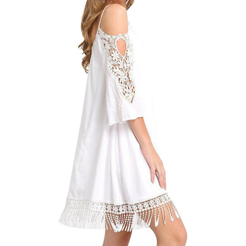 627b556ea3 2019 2018 Womens Summer Clothing Off Shoulder Strappy Dress Lace Crochet  Hollow Out Splice Beach Mini Dress Plus Size From Oott, $28.16 | DHgate.Com