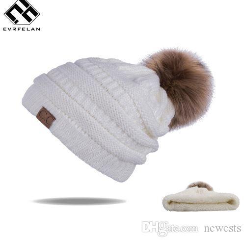 New Pom Poms Women Winter Hats Casual Beanies Fashion Crochet ... c316b7637b92