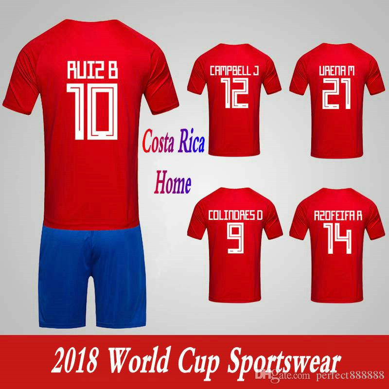 reputable site 3bdd5 f6843 Men Clothing Tracksuits Costa Rica National Team Home Football Sport Suits  2018 World Cup Soccer Uniform Clothes Shorts.