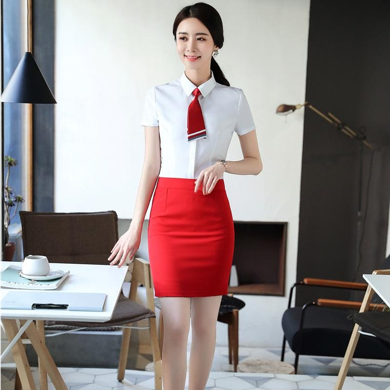 6e156334913b 2019 Summer Fashion Tops And Skirt For Women Business Work Wear Uniform  Styles Clothing Sets EleWith Tie Plus Size From Yukime