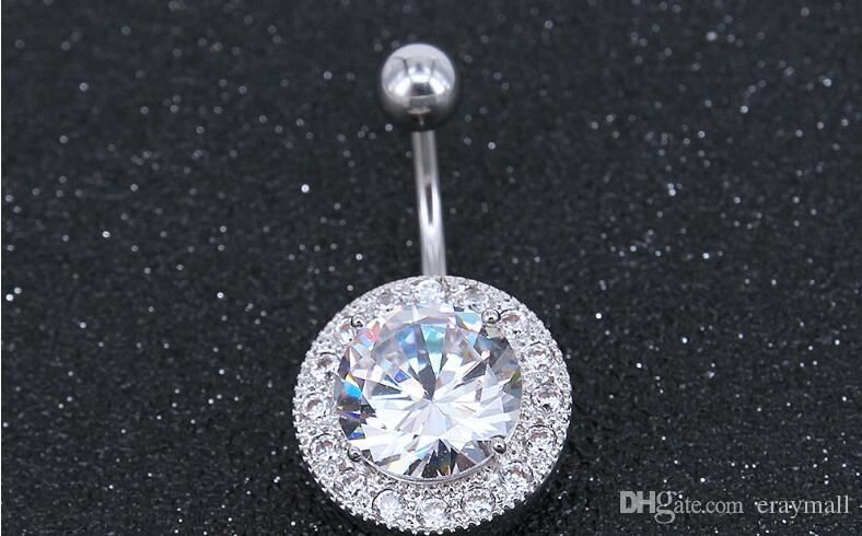 En kaliteli 316L Paslanmaz Çelik yuvarlak Kristal Göbek Barlar Altın Belly Button Yüzük Göbek Piercing Takı