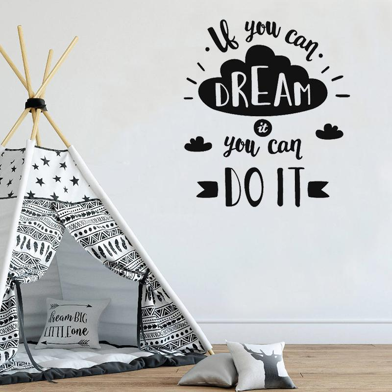 Dream Motivational Quote Wall Sticker For Children Bedroom Cloud Pattern  Nordic Style Interior Home Decor Wall Decal