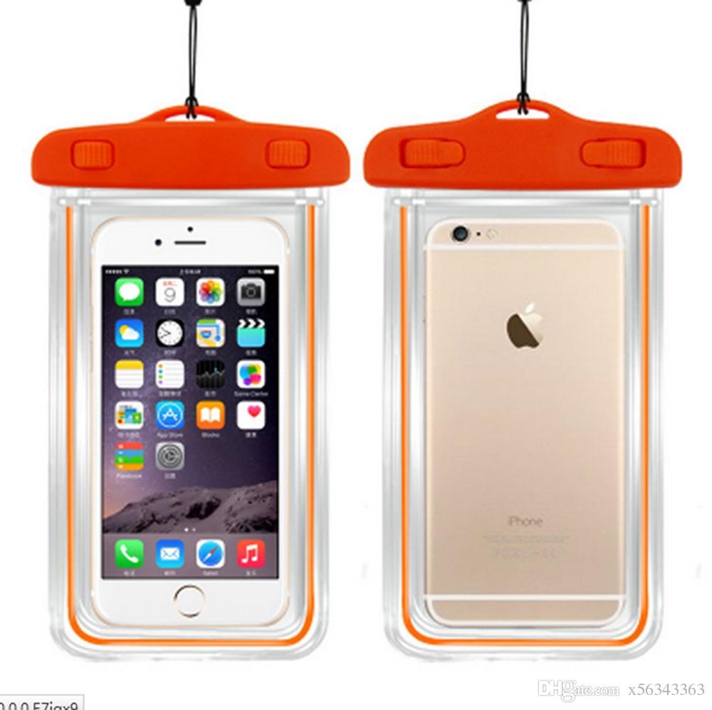 Limpar luminosa sacos à prova d 'água bolsa de telefone case capa para câmera tela de toque do telefone subaquática para iphone x 8 plus modelos universais de 6 polegada