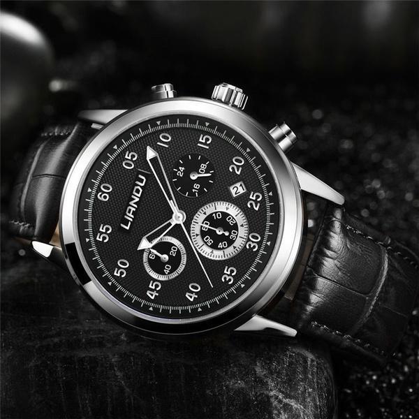 a34c9eb1e0a Compre Relógios Masculinos De Couro De Quartzo De LIANDU Relógios De Couro  Genuíno Relógio De Cronógrafo De Loquacious