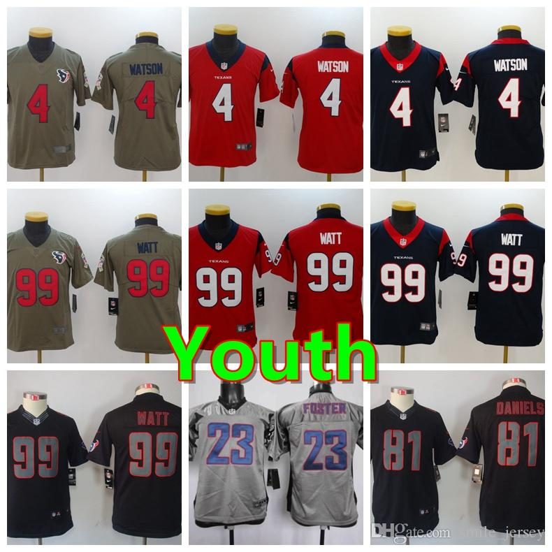 new style fc9ae bb395 2019 Youth 4 Deshaun Watson Houston Jersey Texans Kids Football Jersey 100%  Stitched Embroidery 99 J.J. Watt Color Rush Boys Football Shirt