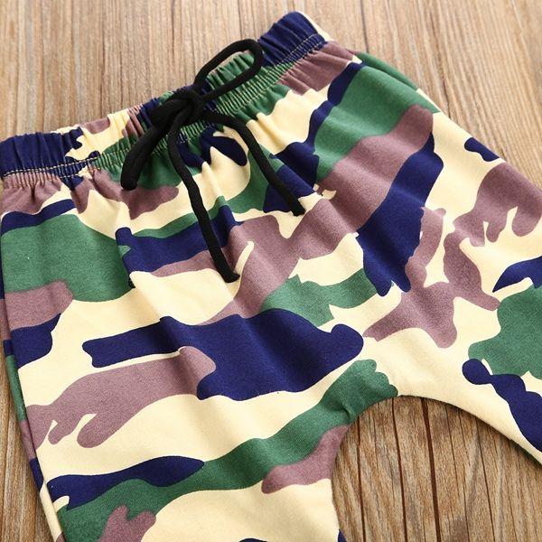 Mode bambin enfants garçons en tête T-shirt + pantalons camo / set tenues tenues adaptées pour les enfants 1-6T