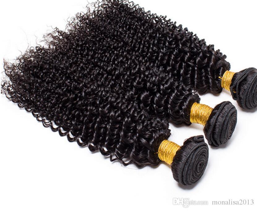 El pelo humano brasileño de la onda profunda empaqueta la trama rizada rizada de la armadura Extensiones rizadas peruanas malasias peruanas del pelo de la Virgen mongolia india