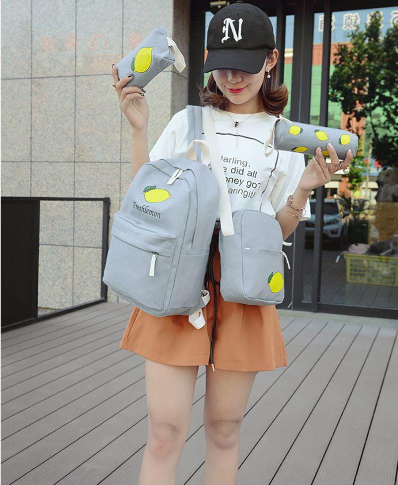4 قطعة بدلة أطفال حقيبة الفاكهة حقيبة مدرسية الليمون daypack جيب حالة حقيبة الظهر الأطفال المدرسية الرياضة يوم حزمة قلم رصاص القضية