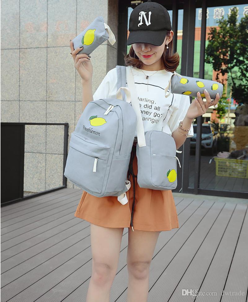 Traje de 4 piezas para niños mochila bolso de escuela de frutas mochila de bolsillo de día mochila mochila al aire libre para niños paquete de día deporte caja de lápices