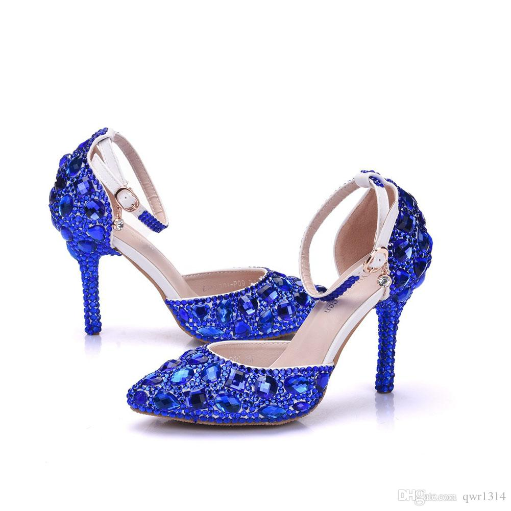 New Fashionl Elegent pointed toe shoes for women blue crystal high heel wedding shoes thick heels Beautiful rhinestone Plus Size Shoes